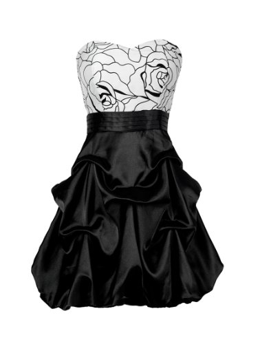 Ever Pretty BNWT Adorable Strapless Black White Mini Cocktail Dress 03151, HE03151BK14, Multiple(black), 12US