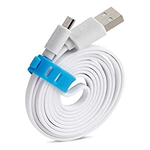 Huawei Ascend Y330 Compatible Flat Micro Usb Cable / Data Transfer Cable With 1.2 Meter Length - ( White)