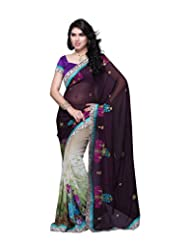 Aaliyah Women's Georgette Saree With Blouse Piece(Black)