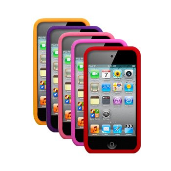 Five Silicone Cases Skins Covers for Apple iPod Touch 4 4G 4th Gen - Orange