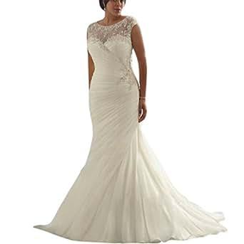 Yxjdress ivory white mermaid plus size wedding dresses for Amazon cheap wedding dresses