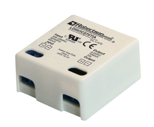 ROBERTSON 3P30025 LD003C070TIA LED Driver, 1-3 Watts, 100-240Vac Input, 700 mA Constant Current, 4-5Vdc Output, Normal Power Factor