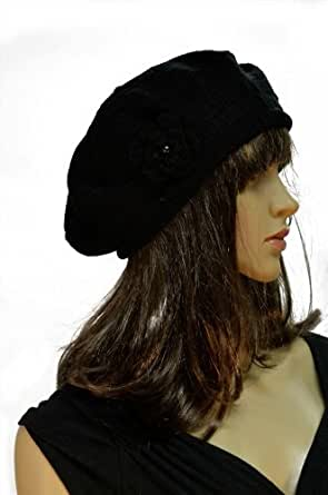 Mesh Crocheted Flower Accented Brick Knit Stretch Beret - Black