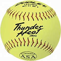 Dudley ASA Thunder Heat 11 (.44) Slow Pitch Softball - Leather Cover - Dozen by Dudley