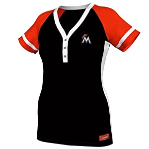 MLB Miami Marlins Ladies Diva Synthetic Top, Black Fire Red White by Majestic