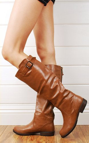 Montage01n Back Zipper Leatherette Riding Boots CHESTNUT