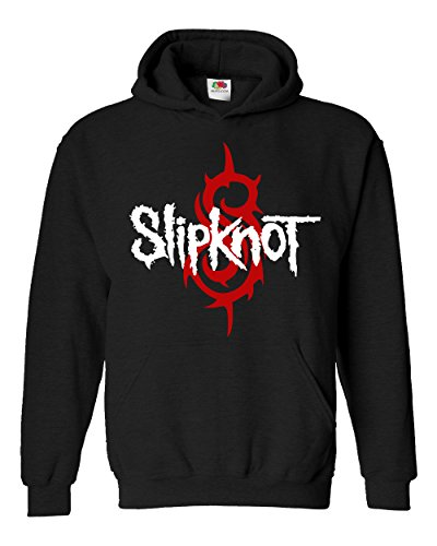 "Felpa Unisex ""Slipknot"" - Red and White logo - Felpa con cappuccio rock band LaMAGLIERIA, L, Nero"
