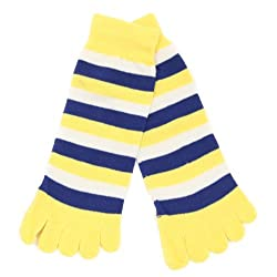 Youth / Girls Fashion Striped Toe Socks (Fits Shoe Sizes 2Y - 4Y) -Yellow / Royal / White