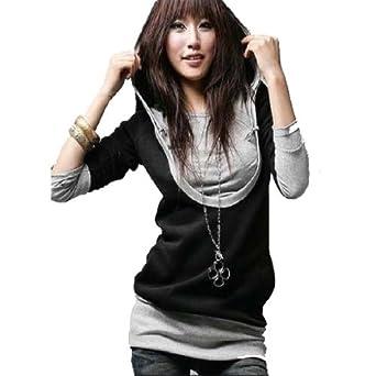 LSWA Damen Kapuzen Pullover Jacke Sweatjacke Hoody Tunika Long Shirt Langarm 52312 (52312 weinrot-grau Gr.34)