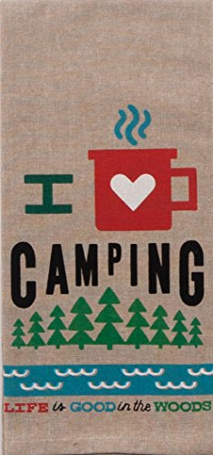 I Love Camping Chambray Tea Towel made our list of camping gifts couples will love and great gifts for couples who camp