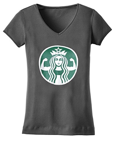 Tough Cookie's Women's Starbucks Parody V-neck Short Sleeve Top (Large, Charcoal Gray)