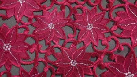"16"" Round Christmas Holiday Placemat Or Doily Embroidered With Red Poinsettia Cutwork front-773512"