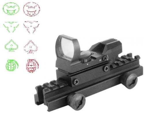 "Global Sportsman Qd Tactical 1"" Weaver-Picatinny High See Thru Stanag Riser Mount For Ar15 M4 Flattop Rifle Scope + Cqb 4 Multi Reticle Dual Red / Green Modern Destroyer Edition Open Reflex Sight With Weaver-Picatinny Rail Mount - Combo Combination Packag"