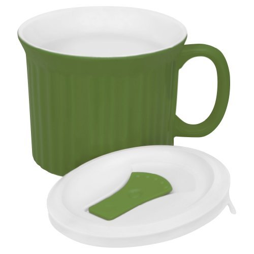 Corningware French White Pop-Ins Mug With Vented Plastic Cover, 20-Ounce, Green Tea Color: Green Home & Kitchen front-495426