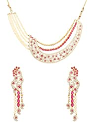 Dilan Jewels HAPPINESS Collection Pearl Beaded Diamond Imitation Red Colour Necklace Set For Women