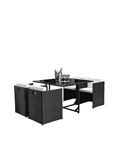 DG Casa Kennebunk Dining Table and 4 Chairs Set, Black/Cream