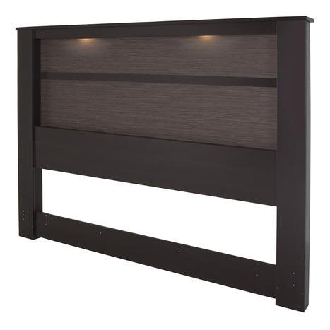 South Shore Gloria King Headboard with Lights, 78-Inch, Chocolate and Zebrano