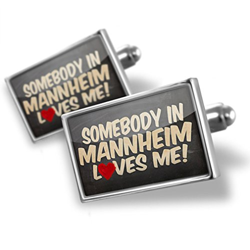 Sterling Silver Cufflinks Somebody In Mannheim Loves Me, Germany - Neonblond