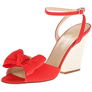kate spade new york Women's Iberis Wedge Sandal,Red/Grosgrain/Raffia Wedge,10 M US