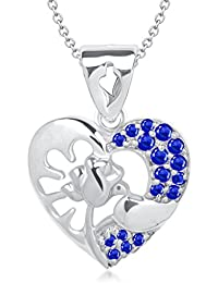VK Jewels Rose In Heart Rhodium Plated Alloy Pendant With Chain For Women & Girls Made With Cubic Zirconia - P1481R...