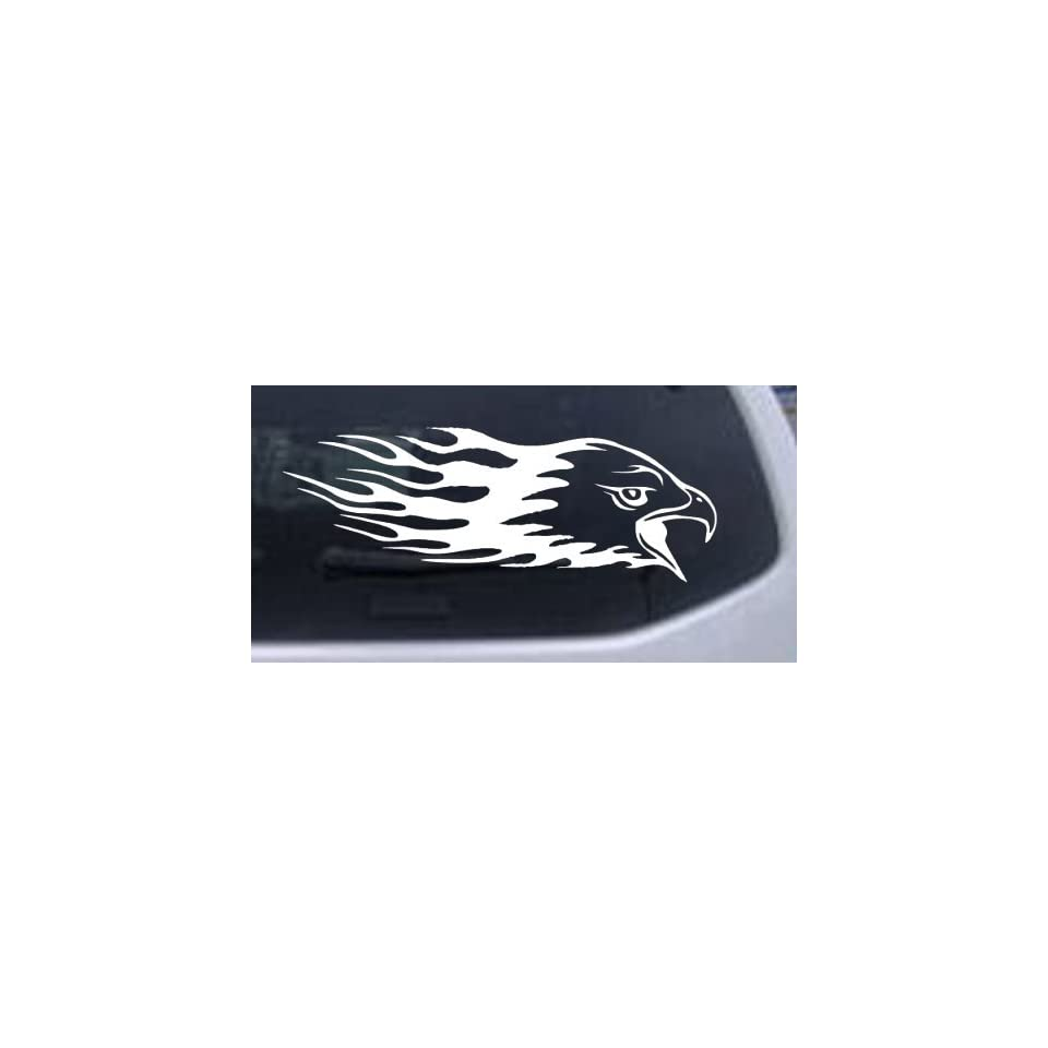 Flaming Eagle Head Car Window Wall Laptop Decal Sticker    White 16in X 5.6in
