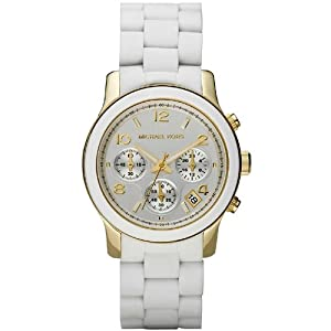 Michael Kors MK5145 Women's Two Tone Stainless Steel Quartz Chronograph White Dial Watch