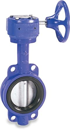Smith-Cooper International 160 Series Iron Butterfly Valve, Wafer Style, Nickel Plated Ductile Iron Disc, Buna-N Seat, Gear Operator