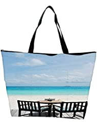 Snoogg Beautiful Beach Bar View In Maldives Waterproof Bag Made Of High Strength Nylon