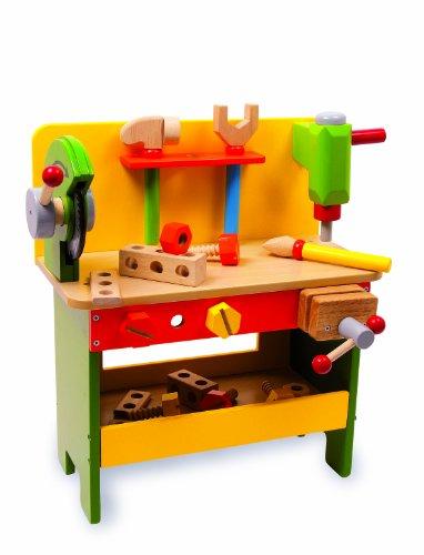 Werkbank-aus-Holz-ab-3-Jahren-verschiedene-Holzspielzeuge-inkl-Schrauben-Muttern-und-Lochbrettern