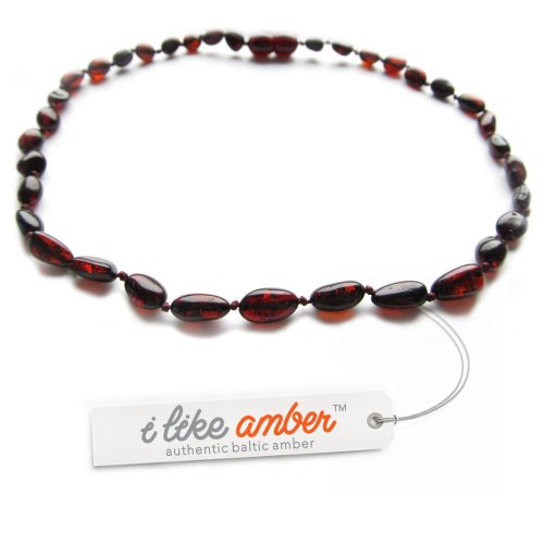 iLikeAmber.com - 33cm Genuine Baltic Amber Necklace Child Baby size Cherry color Bean shape Beads