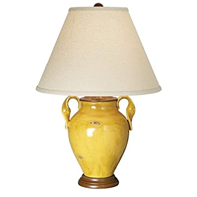 mustard yellow ceramic pottery tuscan table lamp. Black Bedroom Furniture Sets. Home Design Ideas