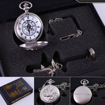 Full Metal Alchemist 6 Different Style Fullmetal Alchemist Anime Pocket Watch & Necklace & Ring (A_Style) - 1
