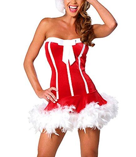Peleustech® Women'S Sexy Strapless Bow Detail Lingerie Lady Costume Red Velvet Dress