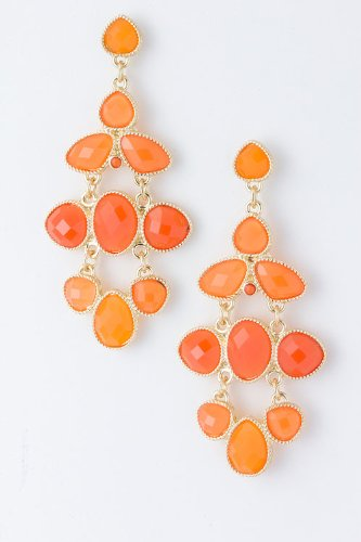 Baubles & Co Jewel Drop Earrings (Orange)