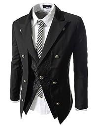 TheLees (NJK9) Mens Slim Fit Double Arrange 1 Button Jacket Black US M(Tag size XL)