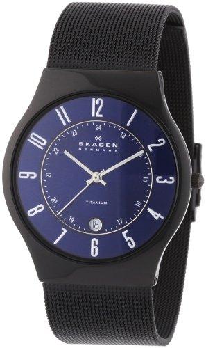 Skagen Mens Watch T233XLTMN with Black Titanium Bracelet and Blue Dial