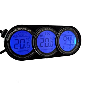 digital car vehicle alarm clock calendar thermometer in out internal external temperature gauge. Black Bedroom Furniture Sets. Home Design Ideas