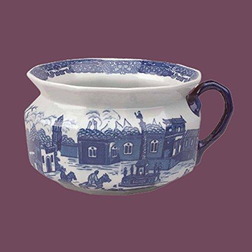 Chamber Pots White/Delft Blue Porcelain Chamber Pot 5 1/2 '' H