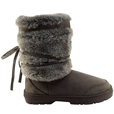 Womens Short Faux Fur Lined Thick Sole Winter Snow Boots