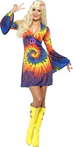 Adult Women's 1960's Tie Dye Swirl Pattern Hippy Costume Dress - Sizes 8 to 18