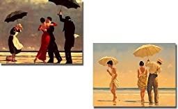 Singing Butler & Mad Dogs by Jack Vettriano 2-pc Premium Stretched Canvas Set (Ready-to-Hang)