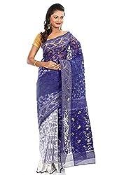 B3Fashion half-n-half traditional Pure Dhakai Handloom Silk Jamdani saree in white and Royal Blue with self weave design, border and pallu with self weave and zari an elegant party wear