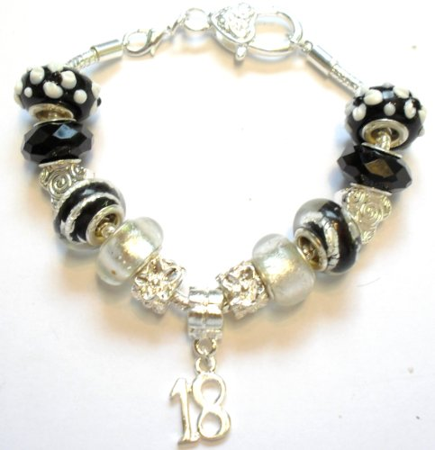 18th Birthday Black Pandora Style Charm Bracelet - Ideal Birthday Present