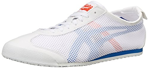 Onitsuka Tiger Mexico 66 Classic Running Shoe, White/Strong Blue, 10.5 M US