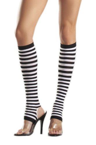 Costume Adventure Women's Striped Nylon Stirrup Knee High Stockings Leggings