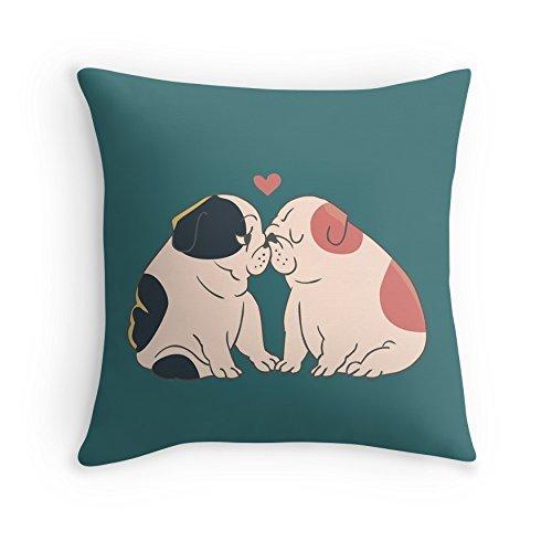 Beautfuldecor Home Decoration Dogs Love Kiss Pillowcase 16X16 Inch Throw Cushion Cover