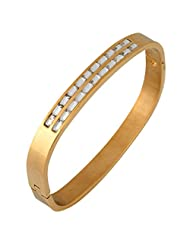 The Jewelbox Baguette Crystal Openable 18K Gold Plated Surgical Stainless Steel Cuff Kada Bracelet For Men