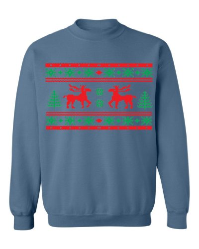 Festive Threads Ugly Christmas Sweater Design (Moose Design) Adult Sweatshirt (Indigo, 5X-Large)
