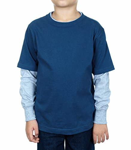 Boys Long Sleeve T-shirt (Medium, Navy & Grey) (Men Swim Trunks Captain America compare prices)