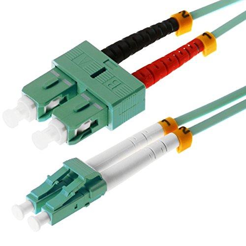 Helos LWL Patchkabel 50/125 m OM3 LC/SC 7,5 m, SC und LC Duplex Stecker, aqua / türkis, 115745